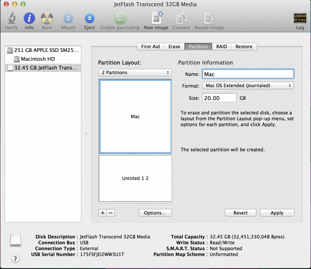 Creating a Mac Partition